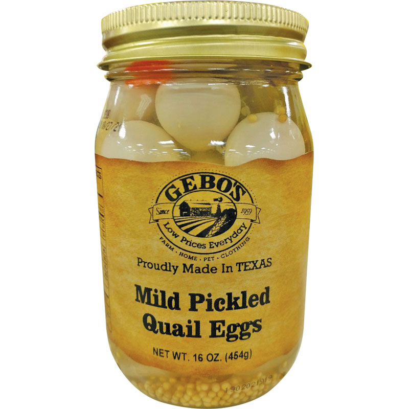 16 Oz. Gebo's Mild Pickled Quail Eggs - Gebo's