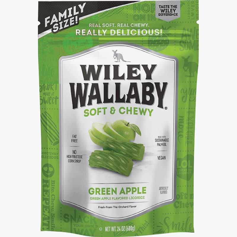 24 Oz. Wiley Wallaby Soft & Chewy Green Apple Flavored Licorice - Gebo's