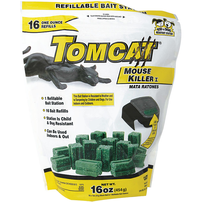 16 Ct. Motomco Tomcat Mouse Killer Refillable Bait Station With Refills - Gebo's