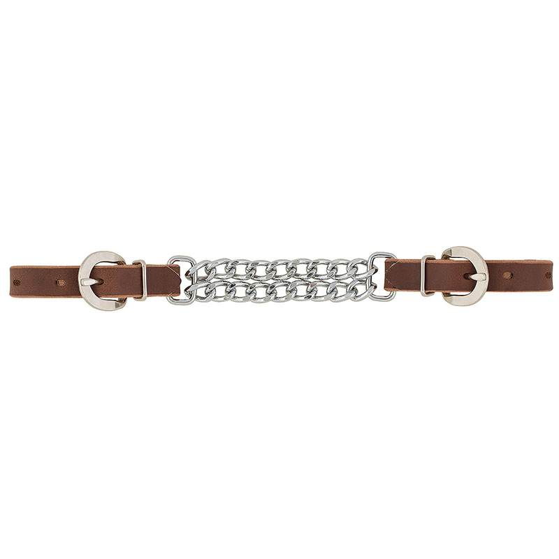 "Weaver Leather 5/8"" Bridle Leather 4 1/2"" Double Flat Link Chain Curb Strap - Rich Brown - Gebo's"