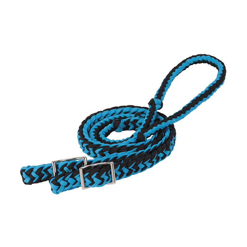 "1/2""x8' Weaver Leather Braided Nylon Barrel Reins - Hurricane Blue/Black - Gebo's"