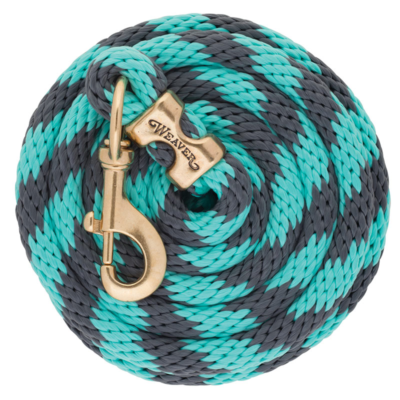 "5/8""x10' Weaver Leather Poly Lead Rope With Solid Brass 225 Snap - Gray/Mint - Gebo's"