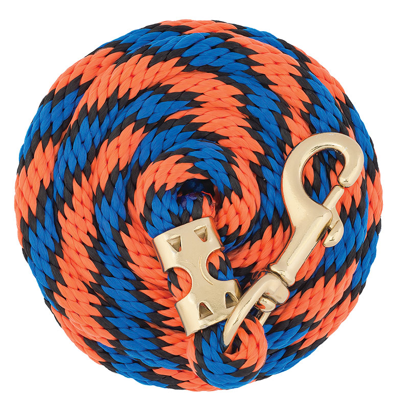 "5/8""x8' Weaver Leather Value Lead Rope With Brass Plated 225 Snap - Orange/Black/Blue - Gebo's"