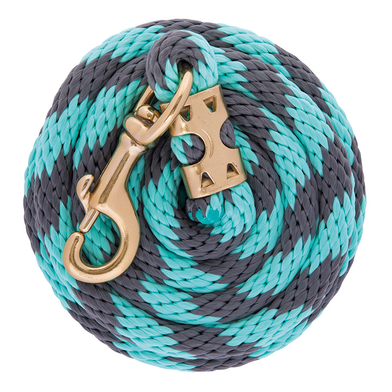 "5/8""x8' Weaver Leather Value Poly Lead Rope With Brass Plated 225 Snap - Gray/Mint - Gebo's"