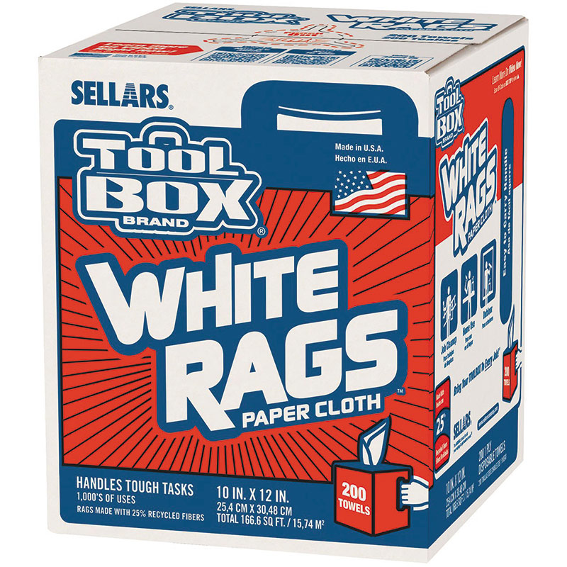 200 Ct. ToolBox White Rags Paper Cloth - Gebo's