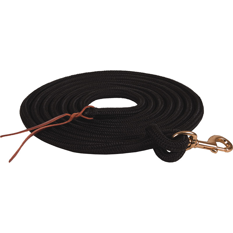 "5/8""x15' Mustang Manufacturing Braided Lead Rope - Black - Gebo's"