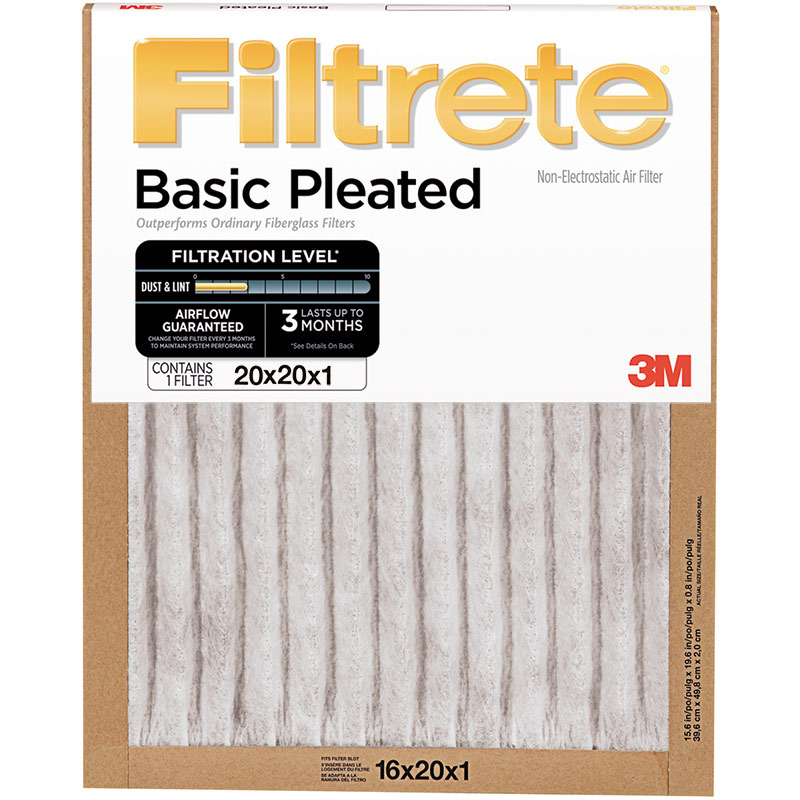 "20"" x 20"" x 1"" Basic Pleat Air Filter - Gebo's"