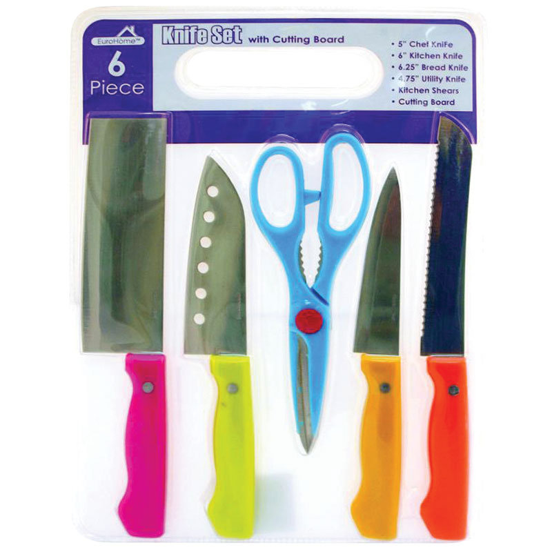 6 Pc. Knife Set With Cutting Cutboard  - Gebo's