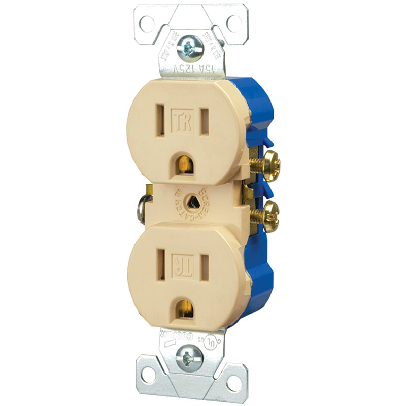 Cooper Wiring 15 Amp Ivory Standard Duplex Electrical Outlet