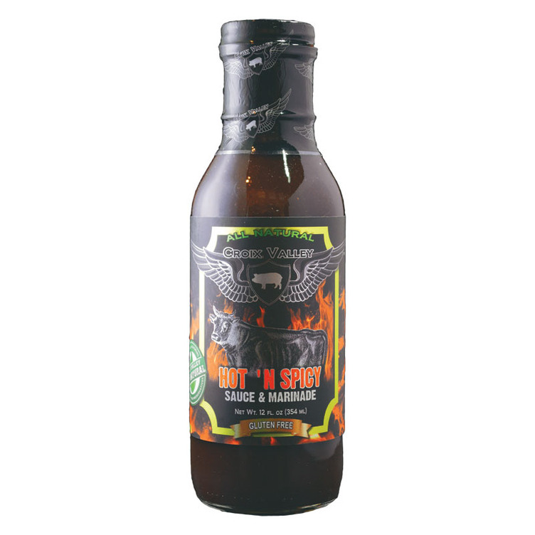 12 Oz. Croix Valley Foods Hot 'N Spicy Sauce And Marinade - Gebo's